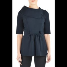 """New Eshakti Navy Ponte Knit Peplum Top 24W New Eshakti navy ponte knit peplum top. Size 24 Measured flat: Underarm to underarm: 48"""" Waist: 45"""" Length: 33 1/2"""" Eshakti size chart for bust size 24W:51"""" An oversized asymmetric collar anchored by two self buttons, and waist-cinching button-tabbed banding. Slips on over head; side hidden zipper. Princess seamed bodice. Gathered peplum skirt. Lined in polyester taffeta. Rayon/nylon/spandex, ponte knit, light stretch, heavier mid-weight. Machine…"""