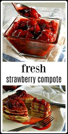 Make your Strawberry sauce to top anything from ice cream to pancakes. This Fresh Strawberry Compote couldn't be easier or more delicious! Blueberry Compote, Fruit Compote, Strawberry Banana Smoothie, Blueberry Sauce, Strawberry Blueberry, Raspberry Compote Recipe, Strawberry Pancakes, Fresh Strawberry Recipes, Sweets