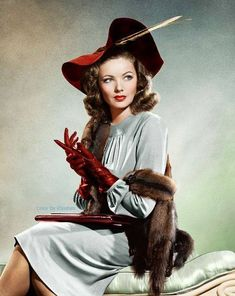 Gene Tierney❤️❤️love this look retro outfit Vintage Hollywood, Hollywood Icons, Hollywood Fashion, 1940s Fashion, Golden Age Of Hollywood, Hollywood Stars, Classic Hollywood, Vintage Fashion, Fashion Women