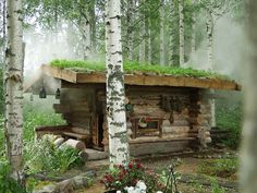 Tiny, rustic cabin is perfection. Saunas, Sauna House, Portable Sauna, Outdoor Sauna, Finnish Sauna, Getaway Cabins, Small Buildings, Cabins In The Woods, Log Homes