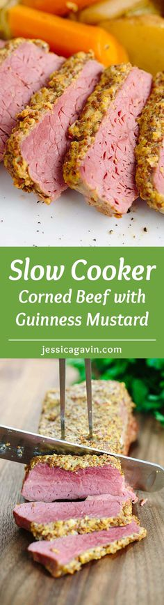 Slow Cooker Corned Beef Recipe with Guinness Mustard - a traditional Irish feast all in one pot! Tender beef brisket cooked with hearty fresh vegetables. | jessicagavin.com