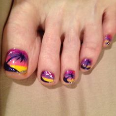 Tropical beach nail art, not these colors, but the design