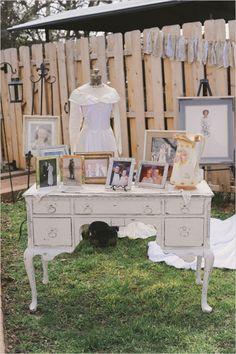 a row of bridal gowns to represent the past generation brides in the family #weddingideas #weddinginspiration #weddingchicks http://bit.ly/1f2b9ef
