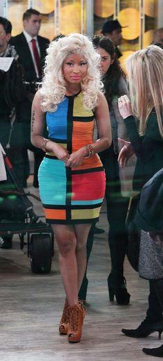 Nicki Minaj Colorblock Dress 2017 Street Style