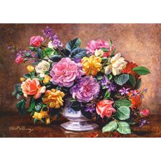 Needlework Crafts Embroidery Diy Counted Cross Stitch Kits A Summer Arrangement Art Floral, Flower Vases, Flower Art, Art Flowers, Mosaic Kits, Puzzle Art, Plant Painting, Cross Paintings, Paisajes