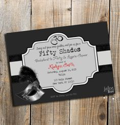 Fifty Shades of Grey invitation Bachelorette Party Bachelorette Lingerie Party, Bachlorette Party, 50 Shades Party, Nex York, Baby Glitter, Pure Romance Party, Passion Parties, Fifty Shades Of Grey, 50th Birthday