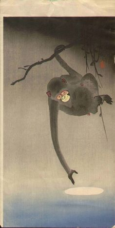 Ohara Koson Japanese Woodblock Print - Monkey / Moon. My mom had this print when we were growing up, I think it got water damage which upset my mother. I found a photo of it on