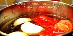 Tiempos de cocción y cantidad de agua en olla rápida   Cocina.es