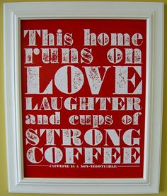 Strong Coffee Poster red by howfab on Etsy, $12.00