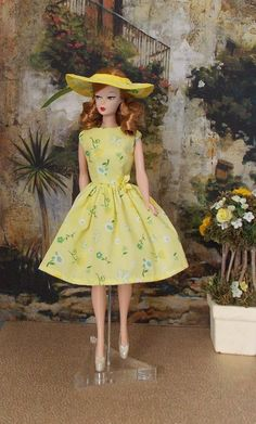 Barbie Clothes -  Sunshine Yellow Dress & Hat by Jolie  Closes with Snaps  Fits old and new Barbies.