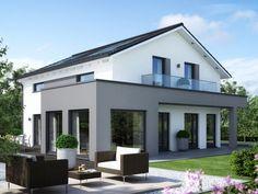 Aktionshaus SUNSHINE 165 • Effizienzhaus von Living Haus • Modernes Fertighaus mit Übereck-Panoramaerker, Balkon und Eingangsüberdachung • Jetzt bei Musterhaus.net informieren!