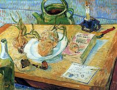 Vincent Van Gogh Still Life: Drawing Board, Pipe, Onions And Sealing Wax Oil Painting Reproductions for sale Vincent Van Gogh, Art Van, Van Gogh Still Life, Van Gogh Arte, Van Gogh Pinturas, Still Life Drawing, Van Gogh Paintings, Paintings Online, Selling Paintings