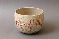 Handmade ceramic bowl stoneware drawings red by studiowetwo,
