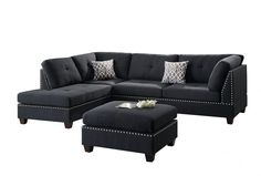 Poundex Bobkona Viola Linen-Like Polyfabric Left or Right Hand Chaise Sectional Set with Ottoman (Pack of Black Product Features Seat Cushion Filled Black Sectional, Black Couches, 3 Piece Sectional, Living Room Sectional, Black Sofa, Dining Sofa, Navy Sofa, Small Sectional, Small Sofa