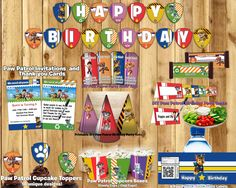 DIY Paw Patrol inspired Birthday Party Kit Instant Download Etsy (Birthday Banner, Invite, Cupcake Toppers, Favor Tags, Bottle labels, Centerpiece, Popcorn Boxes, Food tents, Candy Bar Wrappers, Hats) Paw Patrol Birthday #birthday