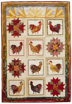 Rule the Roost: Foundation piecing makes it possible to combine multiple tiny fabric scraps into Crow's Foot, Sunburst, and rooster blocks for a top o' the morning wall hanging. Designer: Mary Jo Hiney.