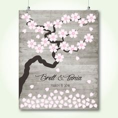 Unique wedding guest book printable bridal shower sign in book signature poster floral cherry blossom wishing tree poster digital print jpeg pdf.jpg