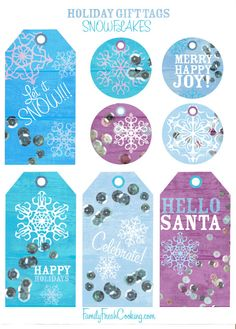 Snowflakes ~ Free Printable Holiday Gift Tags | FamilyFreshCooking.com