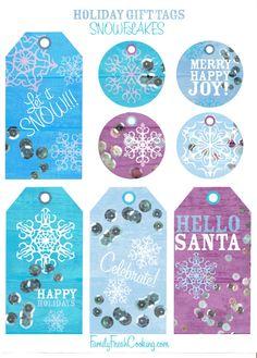 Snowflakes ~ Free Printable Holiday Gift Tags   FamilyFreshCooking.com