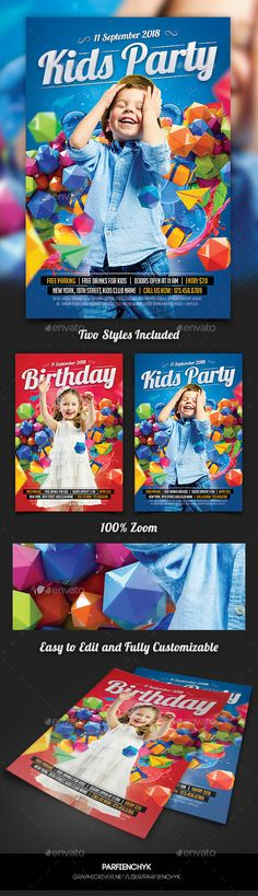 Buy Kids Birthday Party Flyer Template by Parfienchyk on GraphicRiver. Birthday Flyer, Birthday Bash, Birthday Ideas, Kids Party Snacks, Birthday Wallpaper, Flyer Printing, Tropical Party, Club Parties, Bridal Shower Party