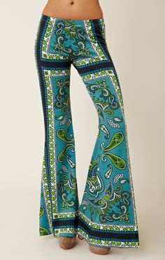 Late 1960s - Groovy paisley bell bottoms -- (vintage lady, The Sixties, fashion, apparel, hip-huggers, pants)
