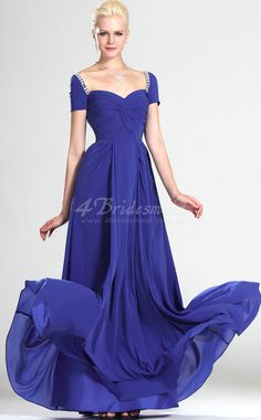 A-line Off The Shoulder Long Royal Blue Chiffon Bridesmaid Dresses(BD508)