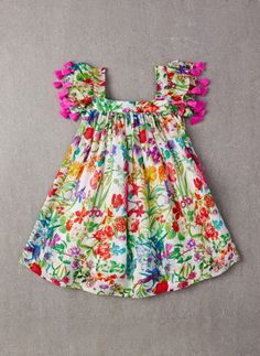 100% viscose A-line dress with pompoms on sleeves in Garden Floral.