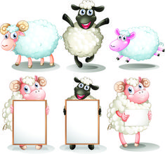 Buy Sheep and lambs with empty boards by interactimages on GraphicRiver. Illustration of the sheeps and lambs with empty boards on a white background Sheep Cartoon, Cute Cartoon, Eid Stickers, Eid Crafts, Eid Greetings, Cardboard Box Crafts, Cute Sheep, Family Illustration, Aries