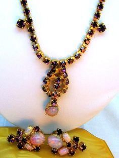 Opal Purple Rhinestone Demi Necklace Earrings Estate Antique Vintage Jewelry Set