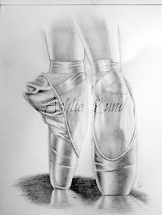 "sketches boots drawing | 11 x 14"" pencil drawing of Pointe Shoes}"