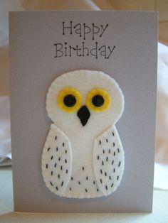Snowy Owl like Hedwig Birthday Card by MichelleGood on Etsy, £2.25
