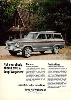 1975 Jeep Wagoneer ad gray with wood stripe I had one just like this in the old days.