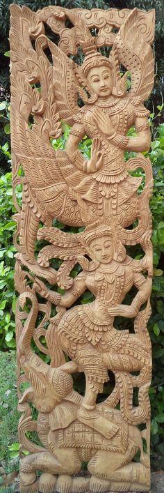 Carved wood panel teak elephant dancer asian wall by Teakdelight, $299.00