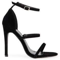 Terri Black Strappy Heeled Sandals (465 ZAR) ❤ liked on Polyvore featuring shoes, sandals, terry shoes, strappy heel shoes, strap heel sandals, strappy sandals and strap sandals