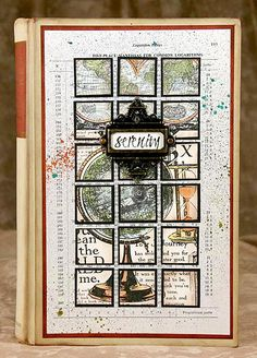 Kay's Keepsakes: Altered Book featuring globe niche cut into the inside pages/tutorial