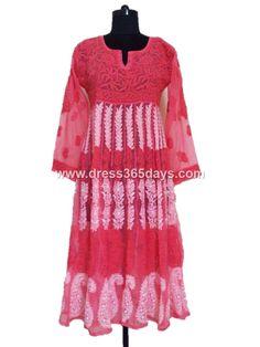peashish Pink  #georgette #anarkali with Chikankari embroidery price $47