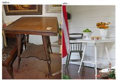 Love this table makeover from @Good Bones Great Pieces -- it's amazing what a little white paint can do!