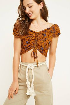 UO Ruched Floral Bardot Top | Urban Outfitters