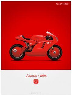Ducati x Akira moto custom illustration affiche, impression 18 x 24 pouces