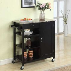 3-shelf Mobile Kitchen Island Cart Wooden Storage Utility Organizer with Drawer and Towel Rack (Black)