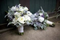 Diggin these bouquets Roses - Eucalyptus, Blue Thistle, Dusty Miller, Stock, Lavender,  Sage.