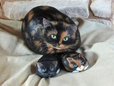 cats painted on rocks