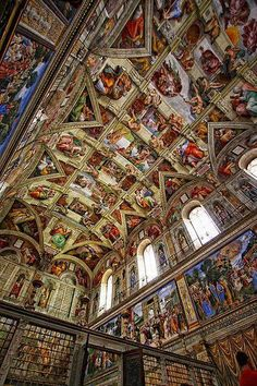 Interior of the Sistine Chapel. Rome, Italy painted by Michelangelo. Michelangelo, Oh The Places You'll Go, Places To Travel, Dark Places, Rome Florence, Vatican City, Place Of Worship, Kirchen, Italy Travel