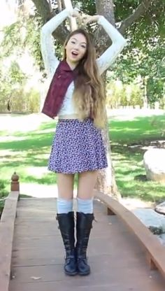 Stilababe09 fall outfit - lace crop top, circle skirt, vest, knee highs, and boots