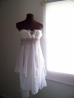 Beach Wedding Gown Strapless Wispy Destination Floaty by colorada. $430.00, via Etsy.