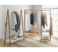 Autoprogettazione Buy Argos Home Belvoir Clothes Rail with Shelf - Bamboo & White Clothes Rail With Shelves, Hanging Clothes Racks, Hanging Closet, Diy Hanging Shelves, Hanging Racks, Diy Clothes Shelf, Diy Clothes Rail, Clothes Rack Bedroom, Clothes Hanger