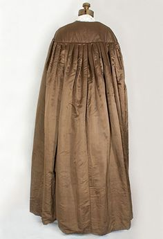 """Hand-quilted silk cape, 1830s. Vintage Textile, $1200. 40"""" yoke circumference and 54"""" from shoulder to hem."""