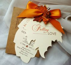 FALLING IN LOVE Hand Cut Autumn Leaf Wedding Invitation -  Sample  Can order with a plum ribbon