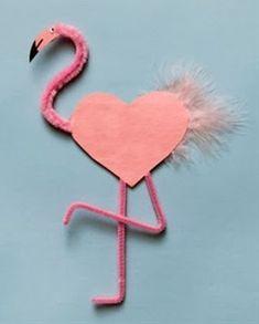 flamingo - Preschool Crafts for Kids*: 21 Fun Valentine's Day Animal Crafts for Kids Valentine Love, Valentine Crafts For Kids, Valentines Day Hearts, Holiday Crafts, Valentine Cards, Valentine Ideas, Printable Valentine, Valentines Art, Homemade Valentines