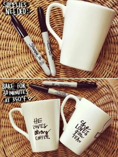 sharpie mug DIY--Be careful with this tip. While it may work. It is NOT food saf. - sharpie mug DIY–Be careful with this tip. While it may work. It is NOT food safe. (if you read th - Cute Crafts, Diy And Crafts, Arts And Crafts, Easy Crafts, Summer Crafts, Creative Crafts, Creative Ideas, Burlap Crafts, Decor Crafts